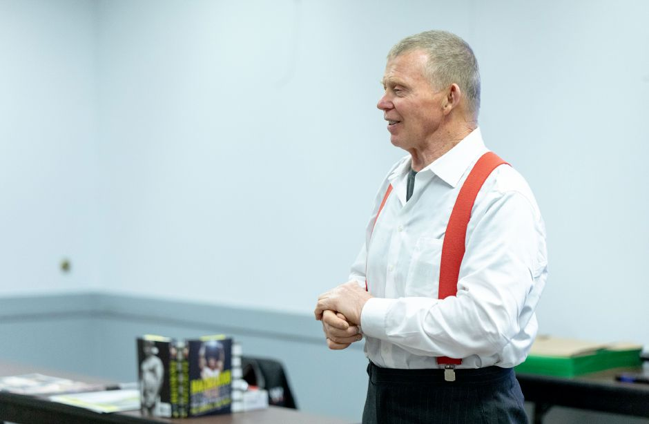 Two time WWE Champion Bob Backlund visited Berlin-Peck Memorial Library on Jan. 14, 2019. Backlund told fans and children determination and values helped him succeed. | Devin Leith-Yessian/Berlin-Citizen