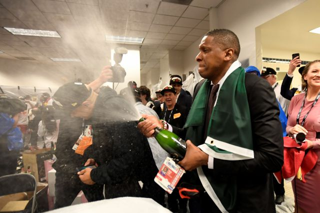 FILE - In this June 13, 2019, file photo, Toronto Raptors President Masai Ujiri celebrates after the team