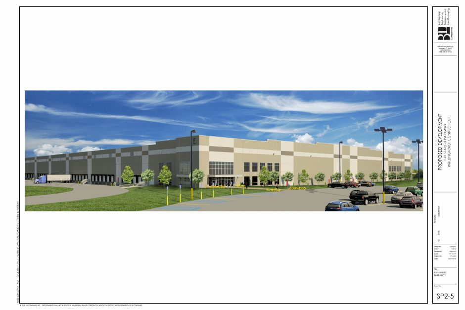 Renderings of one of two warehouses proposed for at the former Bristol-Myers Squibb property in Wallingford, as presented on Oct. 10, 2018. | Courtesy of BL Companies