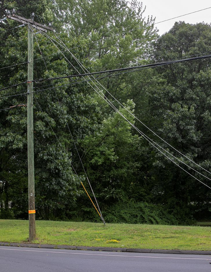 Downed wires at the intersection of South End Road and Meriden Avenue in Southington, Monday, July 23, 2018. More than 1,000 local Eversource Energy customers were without power after police said a tree fell and damaged utility poles and power lines near 905 Meriden Ave. Dave Zajac, Record-Journal