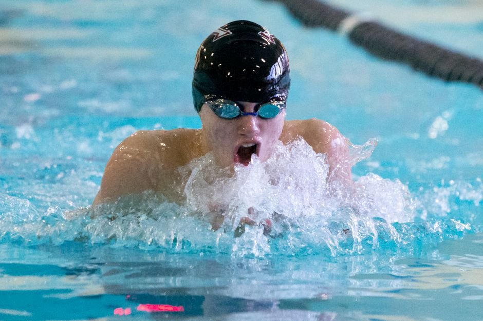 Joey Zellner was third in the 100 breaststroke and fifth in the 100 freestyle to lead Sheehan at the CIAC Class S boys swim meet. | Justin Weekes / Special to the Record-Journal