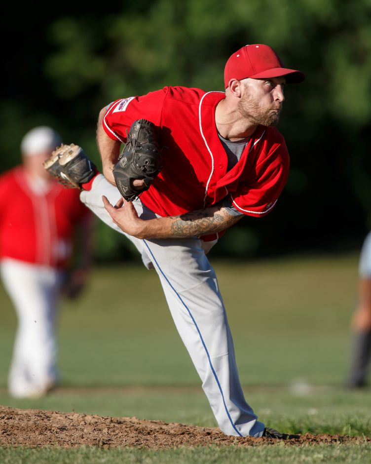 RJ Expos Charlie Hesseltine delivers a pitch Thursday at Ceppa Field in Meriden July 19, 2018 | Justin Weekes / Special to the Record-Journal