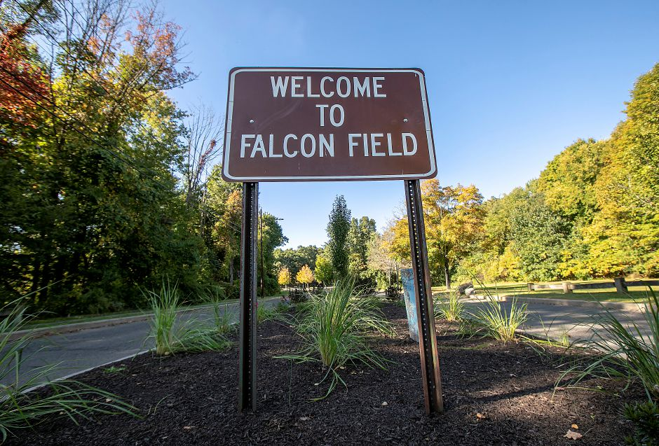 FILE PHOTO – Entrance to Falcon Field in Meriden, Wed., Sept. 25, 2019. State and local health officials and school administrators are monitoring mosquito testing in the wake of two deaths caused by the Eastern Equine Encephalitis virus (EEE). A mosquito trapping site at Falcon Field in Meriden has revealed no mosquitoes tested positive for EEE, West Nile virus or Jamestown Canyon virus, according to a Sept. 24 report. Dave Zajac, Record-Journal
