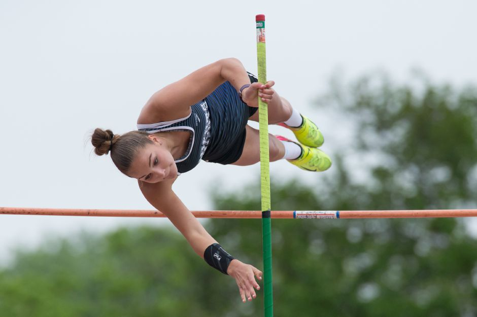 After setting a Class LL girls meet record at 11 feet, 8 inches, Southington senior Megan Biscoglio heads into Saturday's State Open as the No. 1 seed in the pole vault. | Justin Weekes / Special to the Record-Journal