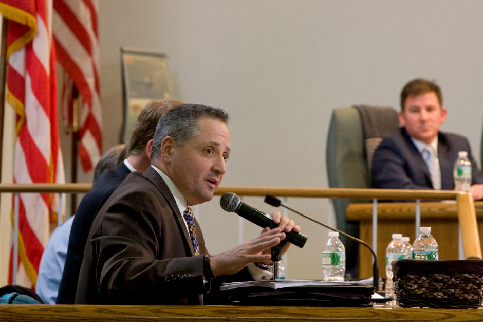 Wallingford School Superintendent Salvatore Menzo answers a questions during a Board of Education meeting at Wallingford Town Hall in 2015.