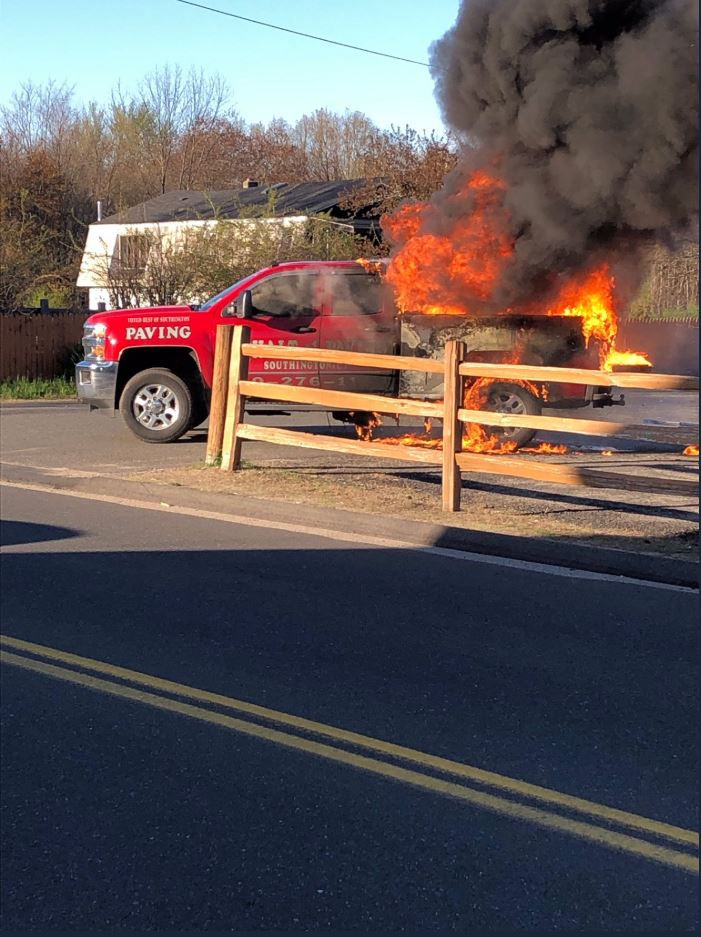 Firefighters extinguished a truck fire on Mount Vernon Road on April 24, 2019. (Courtesy of Southington Fire Department)