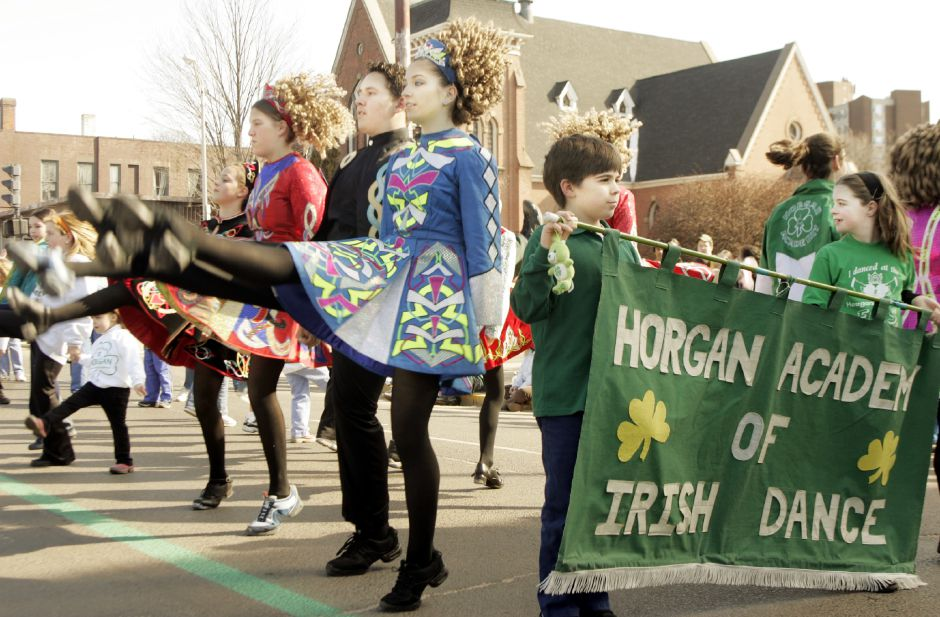 Members of the Horgan Academy of Irish Dance perform while in the St. Patrick