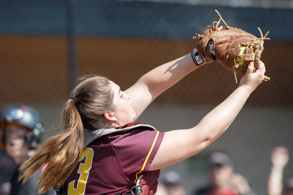 After knocking off No. 1 Cheshire on Wednesday in the quarterfinals, Carolyn Biel and the No. 8 Sheehan softball team tangled with No. 4 Amity in Woodbridge on Thursday. | Justin Weekes / Special to the Record-Journal