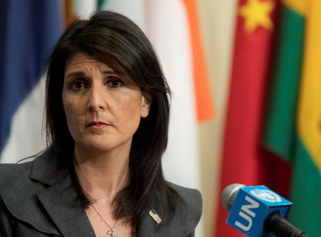 FILE - In this Jan. 2, 2018 file photo, U.S. Ambassador to the United Nations Nikki Haley speaks to reporters at United Nations headquarters. (AP Photo/Mary Altaffer)