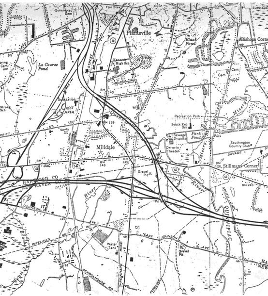 A map from a 1978 federal study proposing Interstate 691. The map shows the planned state route 597, which was never constructed past the long ramp of exit 29 off I-84.