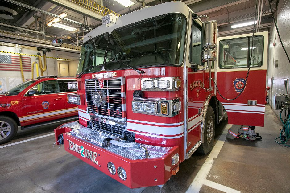 Engine 2 at Central Fire Headquarters in Wallingford, Wednesday, Dec. 12, 2018. The Town Council allocated $46,836 Tuesday to replace firefighter gear contaminated by chemical exposure in a recent industrial fire. Dave Zajac, Record-Journal