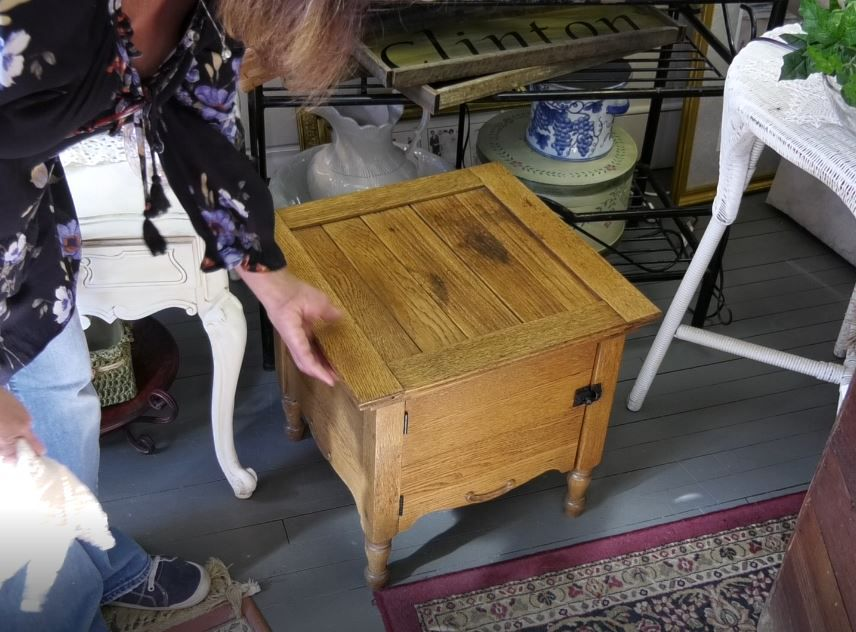 An old commode brought in to consign at Cindy