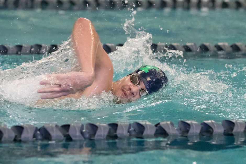 Julio Hernandez captured the 50-yard freestyle in Meriden's CCC South victory Tuesday over Bulkeley/HMTCA in Hartford. | Justin Weekes / Special to the Record-Journal