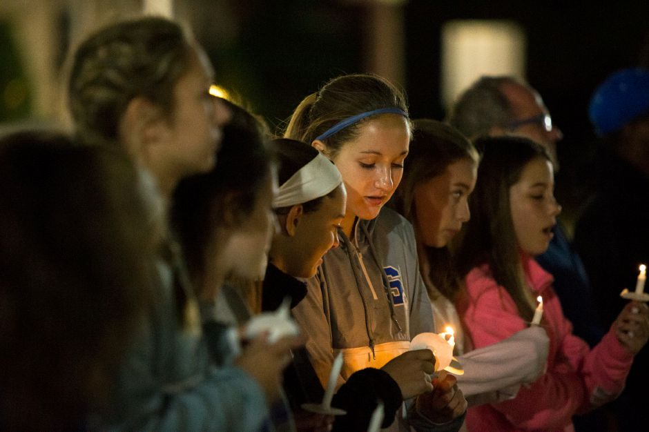 Southington students gather Tuesday for the 28th Annual Red Ribbon pledge for drug free on the Southington Green in Southington October 16, 2018 | Justin Weekes / Special to the Record-Journal