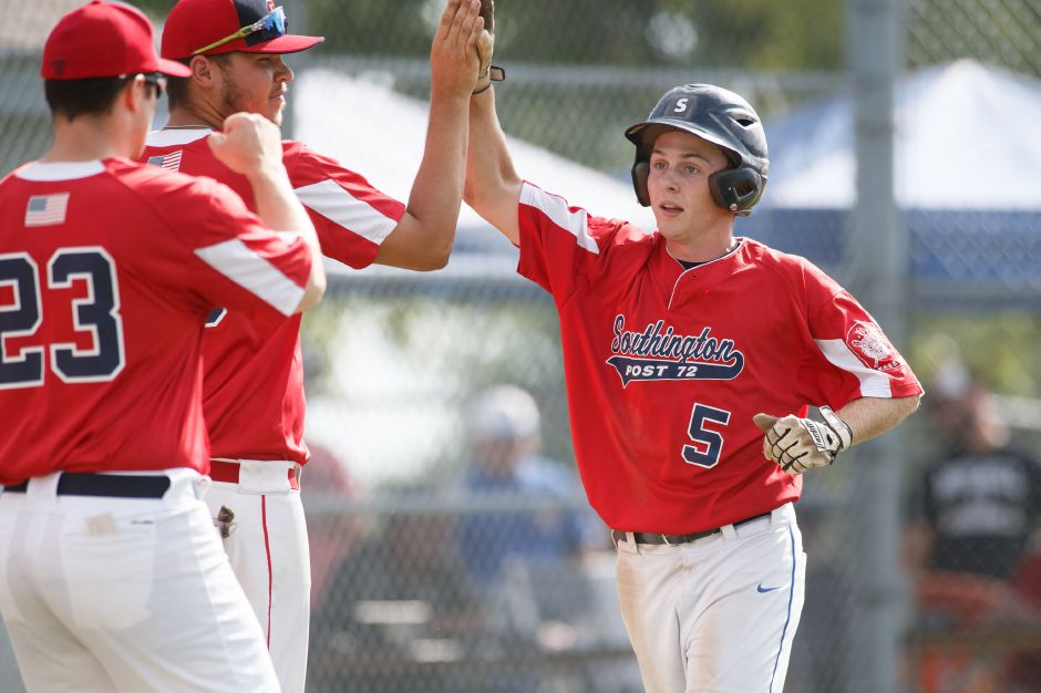 Leadoff batter Dan Topper lashed two hits, stole two bases and scored three runs to spark Southington Post 72 in its 12-1 victory Thursday over Ellington in the Northeast Regional American Legion Tournament. | Justin Weekes / Special to the Record-Journal