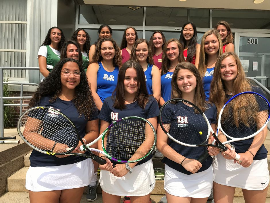 Introducing the 2019 All-Record-Journal Girls Tennis Team. The Lyman Hall girls in front, left to right, are Bianca Vega, Nicole Nicefaro, Olivia Vegliante and Abbey Pallas. The Southington girls in the middle row, left to right, are Isa Miani, Gianna Wadowski, Abby Murphy, Avery Korp and Kate Hardy. In the back row, from left, are Maloney's Abby and Haley Lespier, Sheehan's Shreya Patel, Crystal Gallagher and Grace Waldron, and Cheshire's Jenny Wang and Kelsea Mann. Record-Journal staff