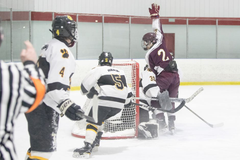 Anthony Romano's second-period goal proved to the game-winner for Sheehan in the SCC/SWC Division III Tournament semifinals against Daniel Hand on Wednesday night. Romano and the Titans completed their conference title defense with a 10-1 waxing of Joel Barlow/Weston/Abbott Tech in the finals on Friday. | Justin Weekes / Special to the Record-Journal