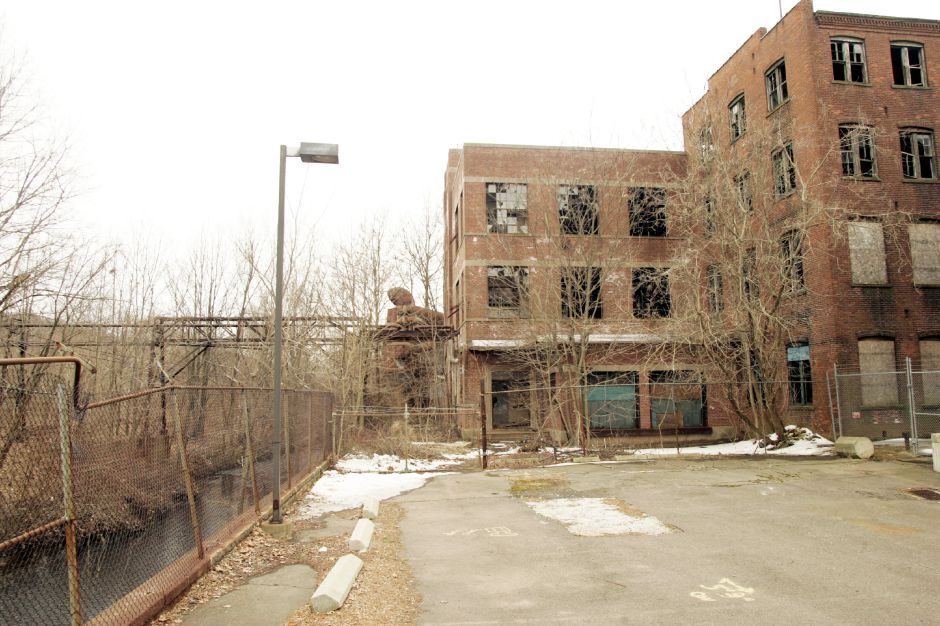 The former Factory H of the International Silver Co. off Cook Ave. Wed., March 23 with Harbor Brook on the left.