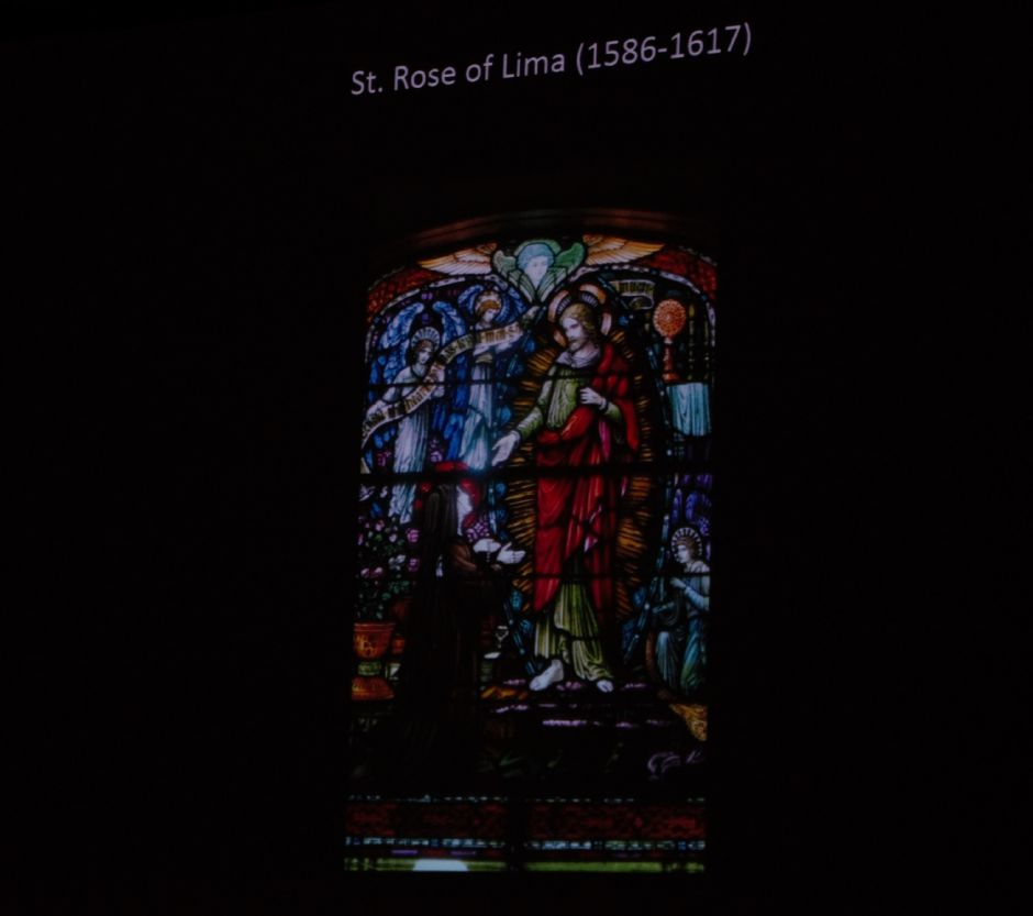A stained glass rendition depicting St. Rose of Lima. Courtesy of Amy Prescher