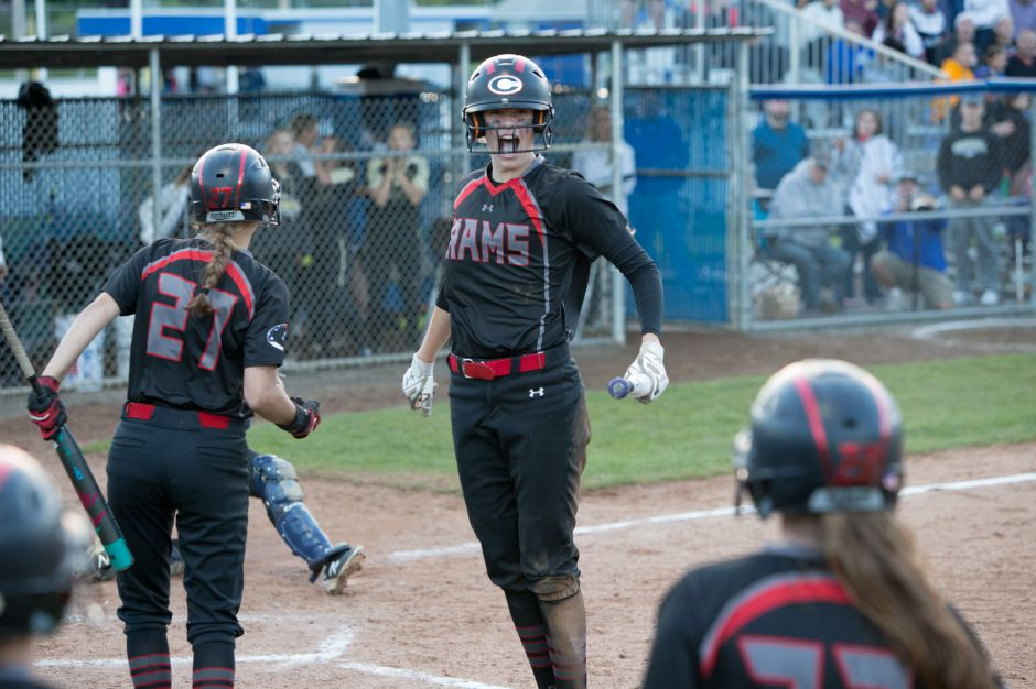 Emma Watkinson had one of Cheshire's two home runs in Friday's 12-0 SCC softball victory at home over Sheehan. | Justin Weekes / Special to the Record-Journal