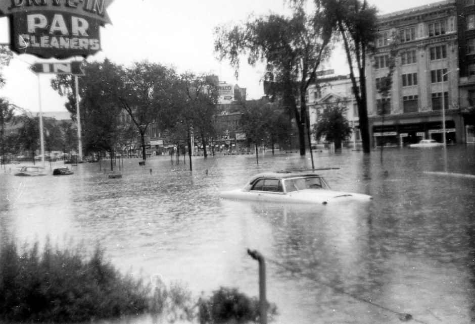 Waterbury Green under water-1955 flood.