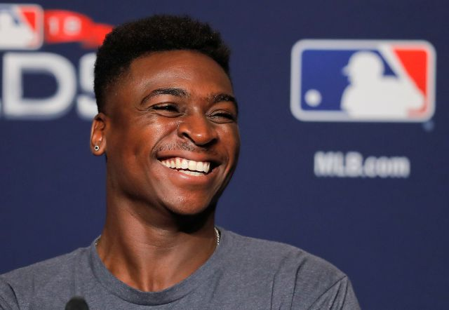 Yankees shortstop Didi Gregorius answers questions from the media on Oct. 7, 2018. Associated Press