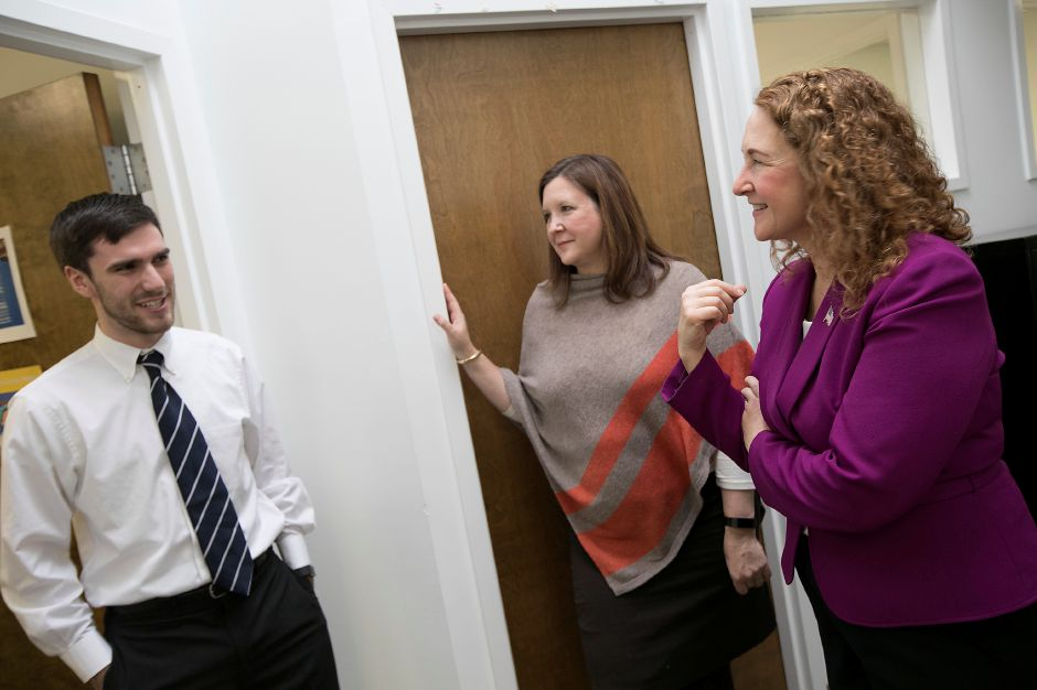 Congresswoman Elizabeth Esty (CT-5) greets Workforce Development Program Manager Andrew Oravecz while on a tour with Chief Operating Officer Mollie Melbourne at the Community Health Center Association of Connecticut (CHCACT) in Cheshire, Monday, February 12, 2018. Dave Zajac, Record-Journal