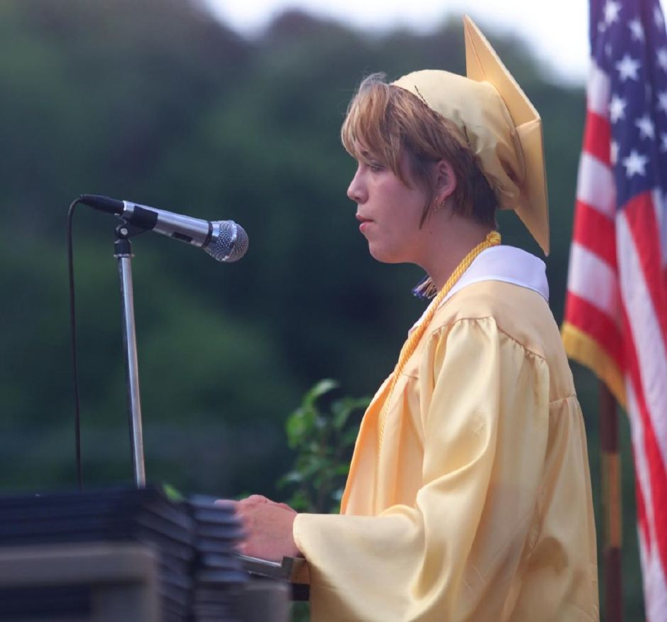 RJ file photo - Wilcox Tech valedictorian Marcie Gawel gives her address during graduation ceremonies Fri., June 18, 1999.