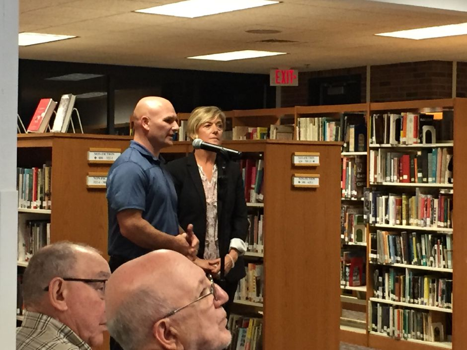 FILE PHOTO: State Trooper and SRO Mark Hesseltine speaks at Region 13 Board of Education meeting on Wednesday, Oct. 10, 2018, at Coginchaug Regional High School. | Bailey Wright, Record-Journal
