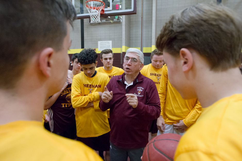 Sheehan coach Joe Gaetano saw his Sheehan Titans rally from a 17-point deficit in the second half only to fall short in the end to defending conference champ Hamden in the first round of the SCC Tournament on Thursday. | Justin Weekes / For the Record-Journal