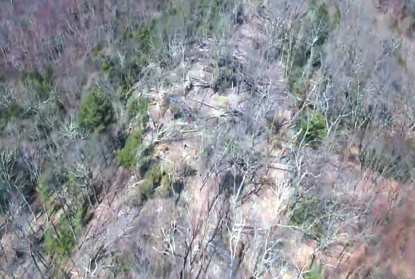 Aerial view of storm damage to orange trail ridge at Tyler Mill Preserve. Courtesy of Dianne Saunders.