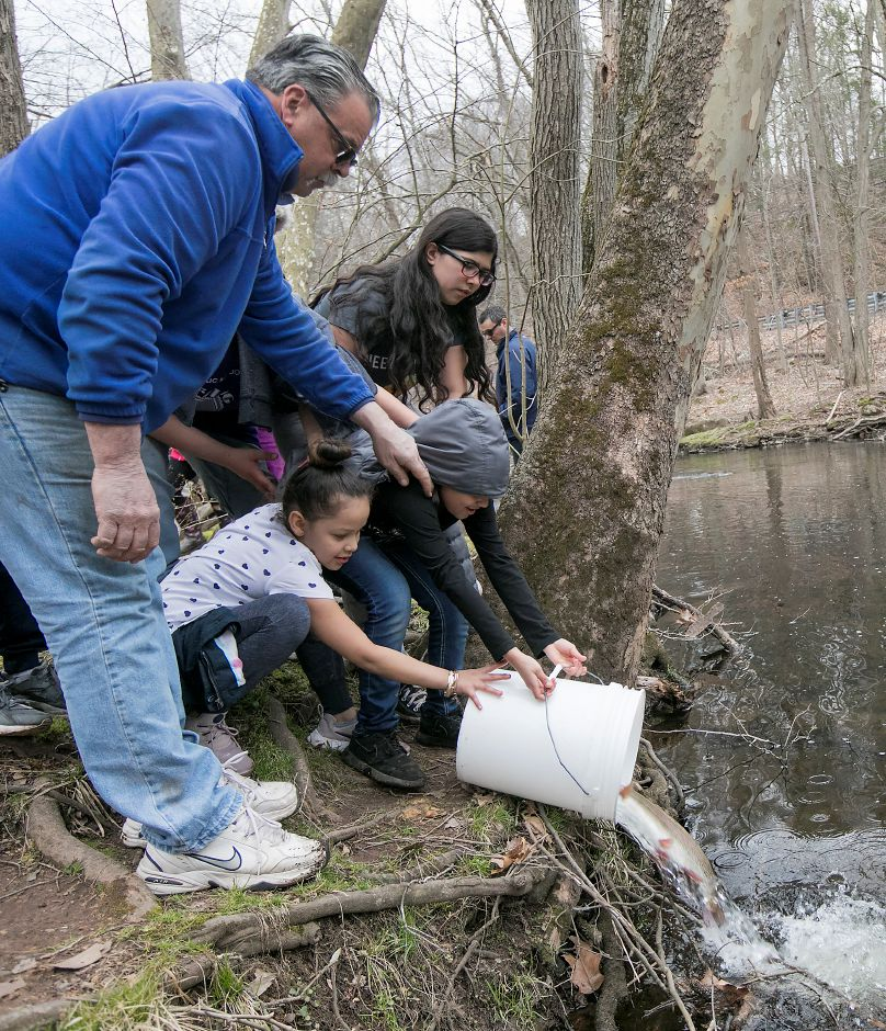Larry Pelletier and children from Beat the Street Community Center release a large rainbow trout into the Quinnipiac River during the annual fish stocking at Red Bridge in Meriden, Thursday, April 12, 2018. Pelletier is executive director of Beat the Street Community Center. Dave Zajac, Record-Journal