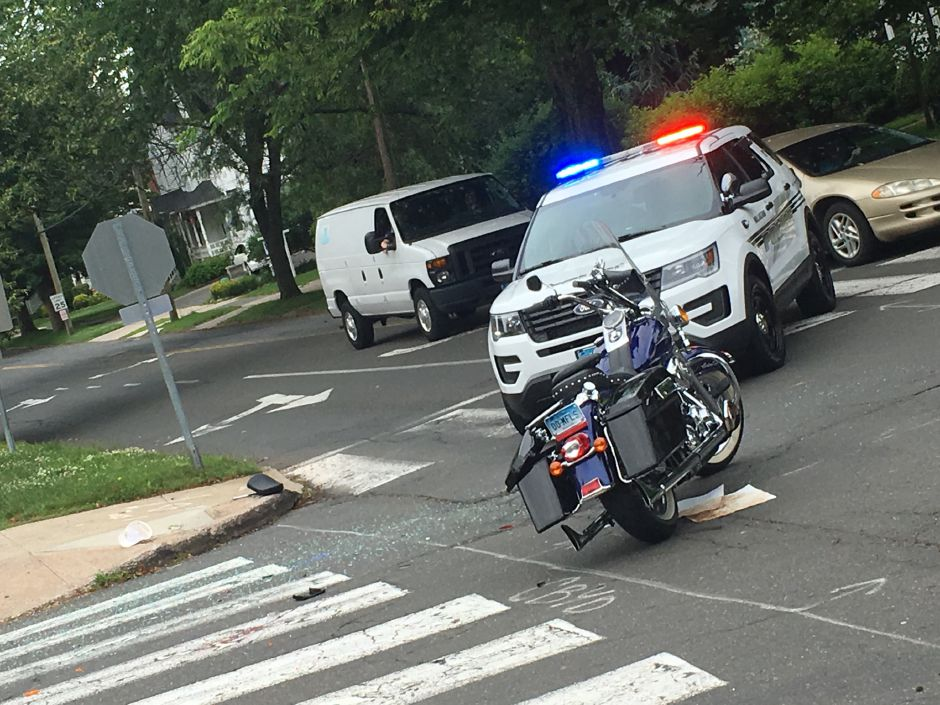 A motorcyclist sustained a head injury after a collision near North Main and Christian streets in Wallingford, June 17, 2019. | Lauren Takores, Record-Journal