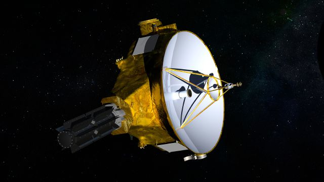 "This illustration provided by NASA shows the New Horizons spacecraft. On Wednesday, March 14, 2018, NASA said the spacecraft is headed toward a New Year's Day 2019 encounter with a mysterious object nicknamed ""Ultima Thule"", 1 billion miles beyond Pluto on the fringes of our solar system. (NASA/JHUAPL/SwRI via AP)"
