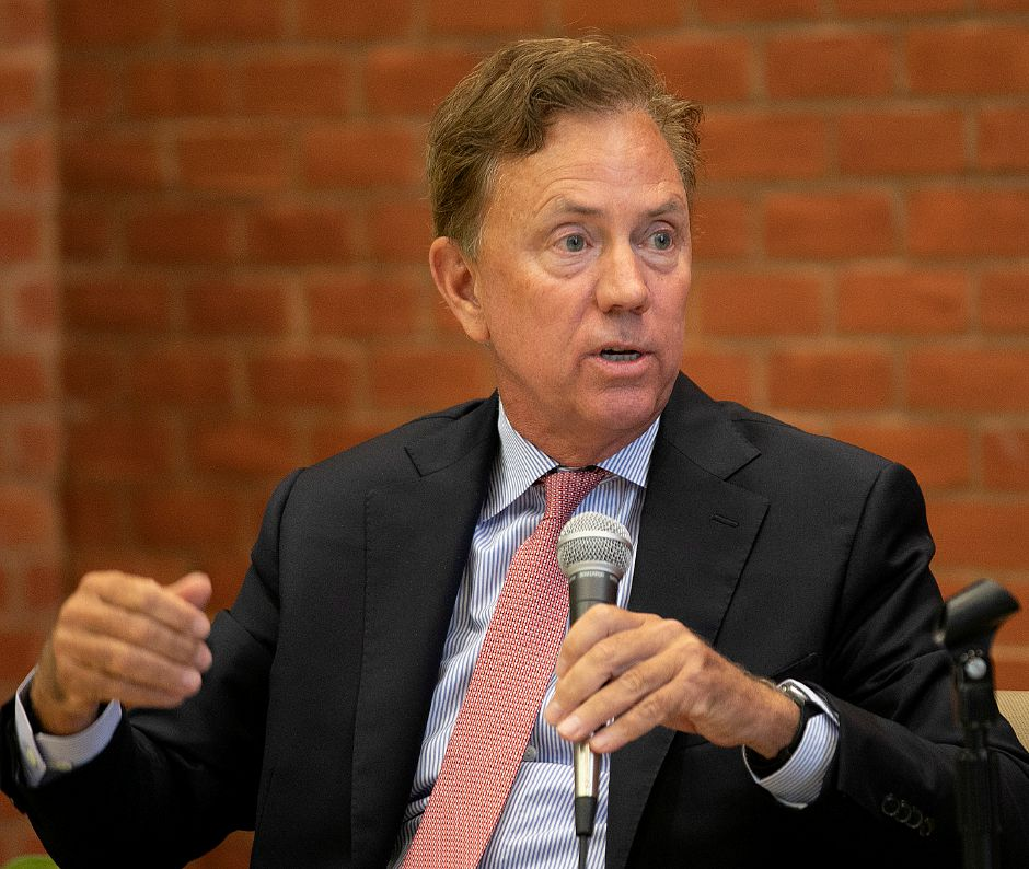 Governor Ned Lamont speaks during an education forum at Wilcox Technical High School in Meriden in August. Dave Zajac, Record-Journal