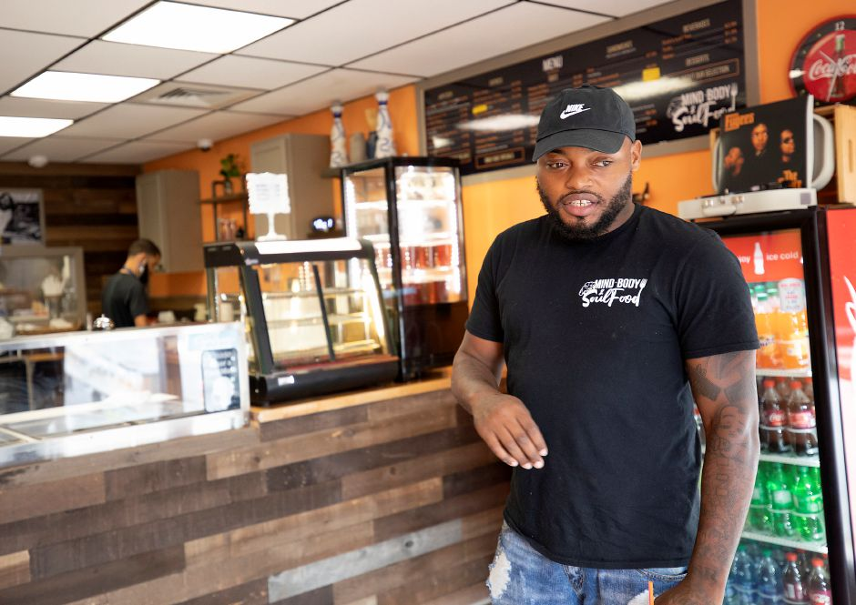 Deja Durant, owner of Mind, Body & Soul Food, talks about the first week of business at the 511 W. Main St. restaurant, Fri., Jul. 24, 2020. Dave Zajac, Record-Journal