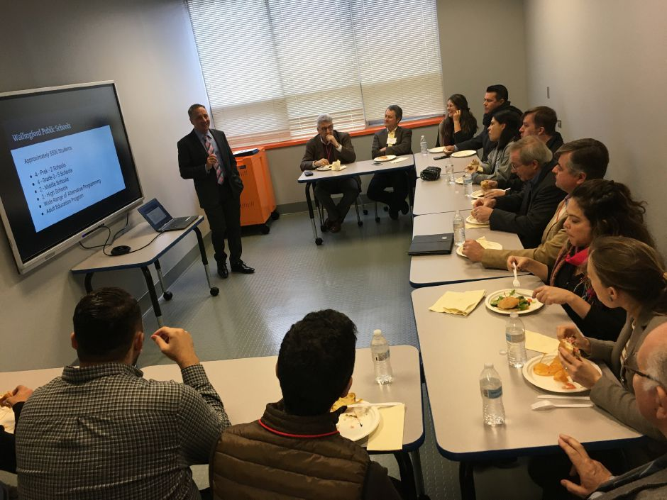 Wallingford Public Schools Superintendent Salvatore Menzo give a presentation to a visiting group of business owners from Brazil at the Center for Innovation and Design at Mary G. Fritz Elementary School, Jan. 23, 2020. Lauren Takores, Record-Journal.