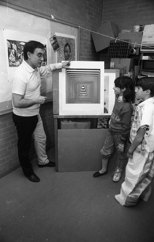 RJ file photo - Moses Y. Beach School art teacher Ron Gagliardi explains the concept of assymetry to Emily Dewey, 8, and Nicholas Passeriello, 10, March 15, 1989.