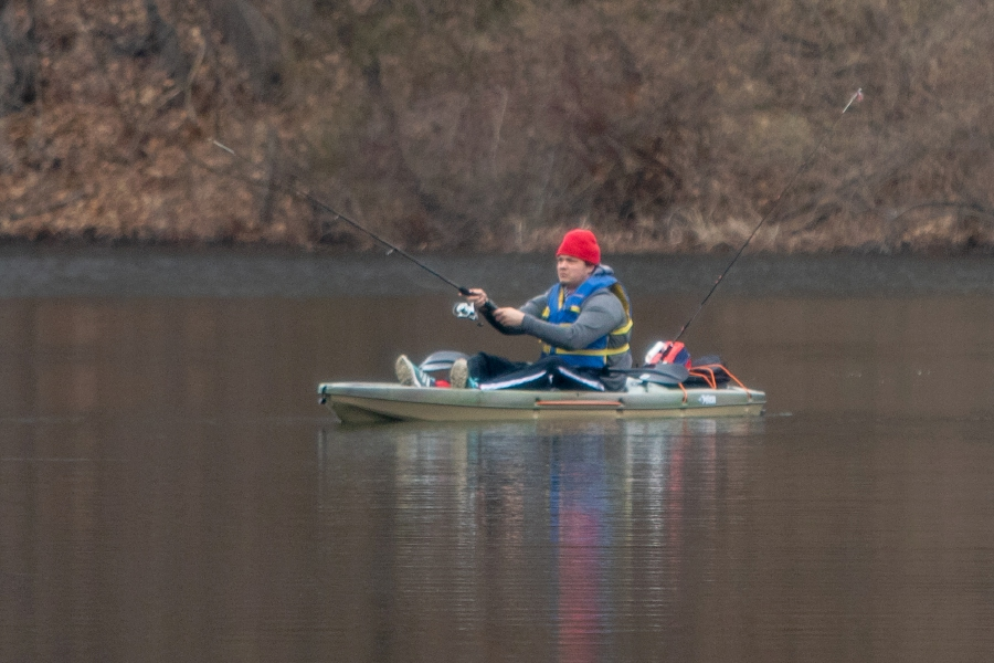 Thomas Leffingwell of Wallingford fishes from his kayak on Black Pond in Meriden on Wednesday, which became the opening day of Connecticut's 2020 fishing season when Gov. Ned Lamont issued an executive order late Tuesday that opened lakes, ponds, rivers and streams to fishing statewide. Aaron Flaum, Record-Journal