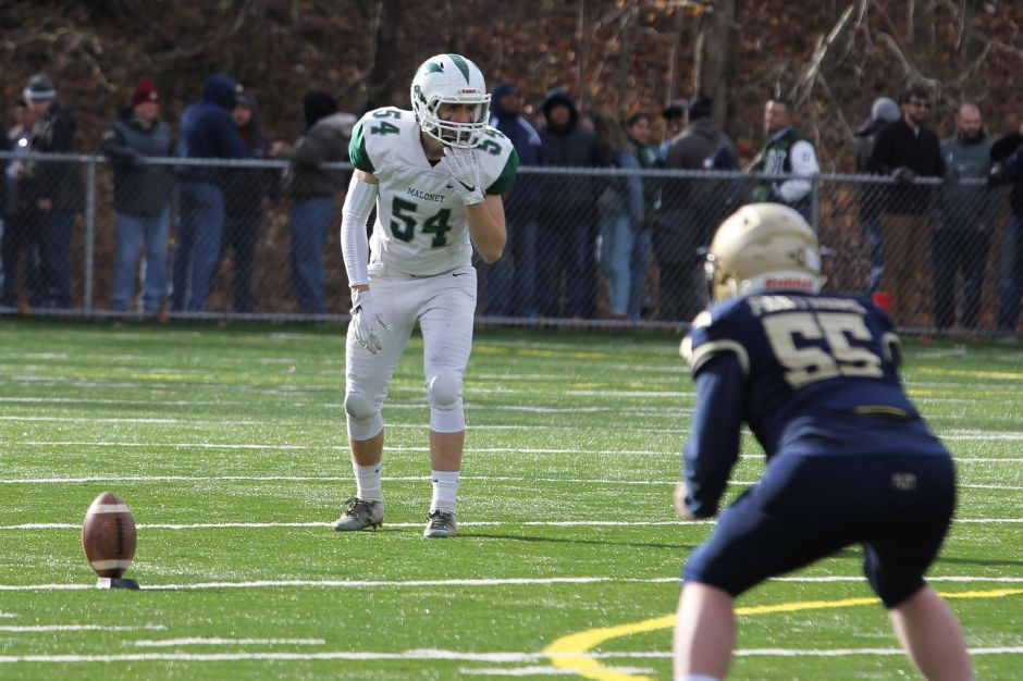 Eli Henderson, Maloney football's jack of all trades on defense and special teams, will continue his academic and athletic career at Western Connecticut State University. Photo courtesy of Maloney football