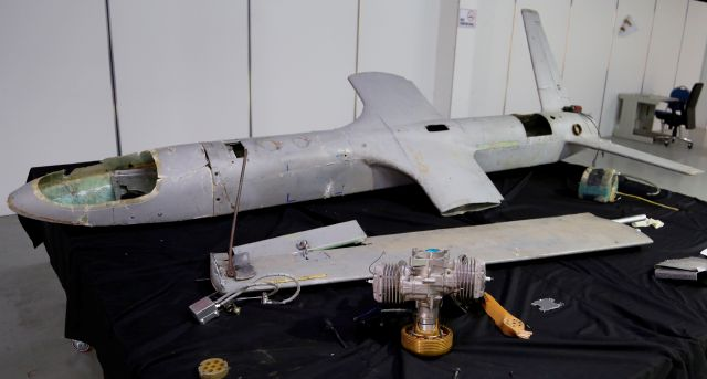 In this undated photograph obtained by The Associated Press, a UAV-X drone flown by Yemen