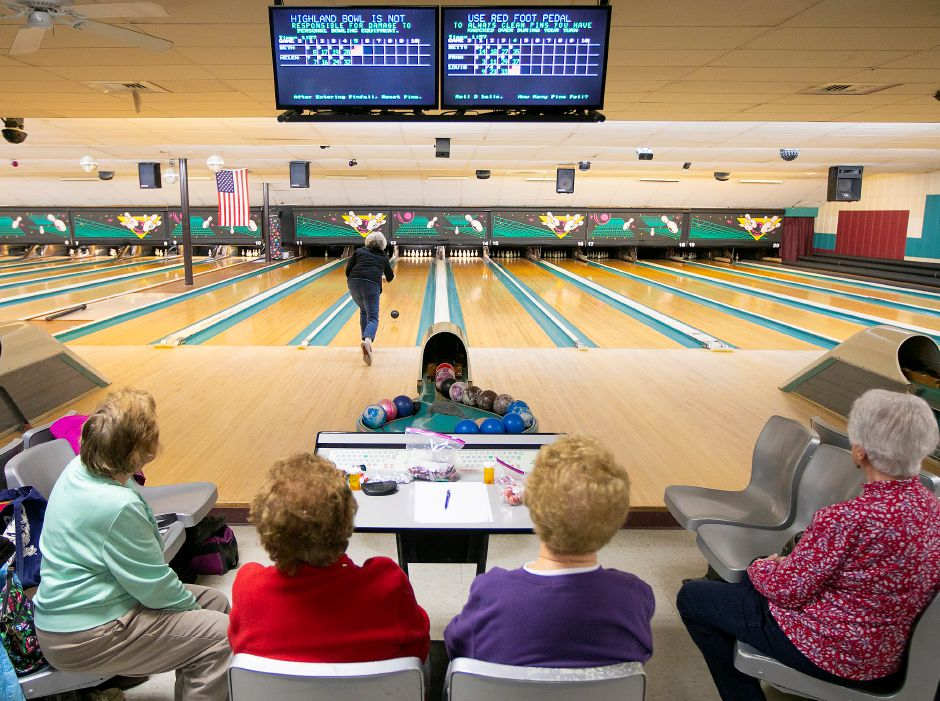Louise Weske, of Portland, starts a ball rolling down the center of the alley while duckpin bowling with friends, left to right, Helen Larrabee, of Portland, Beth MacFarlane, of Portland, Betty Bengtson, of Middletown and Frances Francesco, of Middletown at Highland Bowl, 1211 Highland Ave., Cheshire, Tues., Feb. 11, 2020. Dave Zajac, Record-Journal