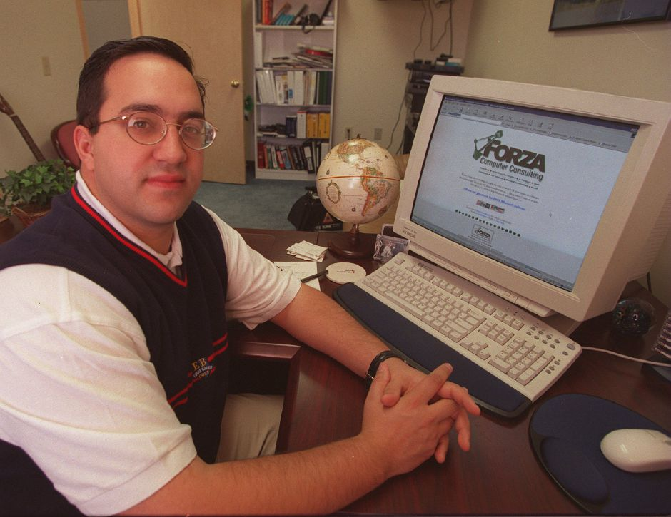 RJ file photo - Joseph Pannone is the president of Forza Computer Consulting at 329 Main St. in Wallingford. His client list includes, among others, Yale University, Feb. 1999.
