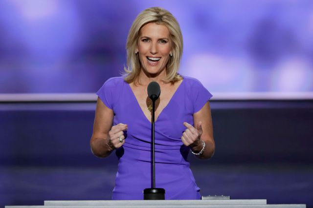 FILE - In this July 20, 2016 file photo, Conservative political commentator Laura Ingraham speaks during the third day of the Republican National Convention in Cleveland.