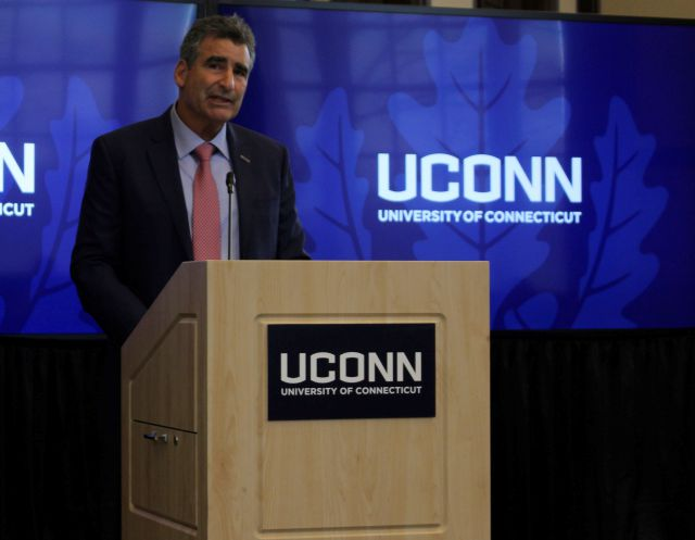 Thomas C. Katsouleas speaks to the University of Connecticut Board of Trustees after being appointed the school