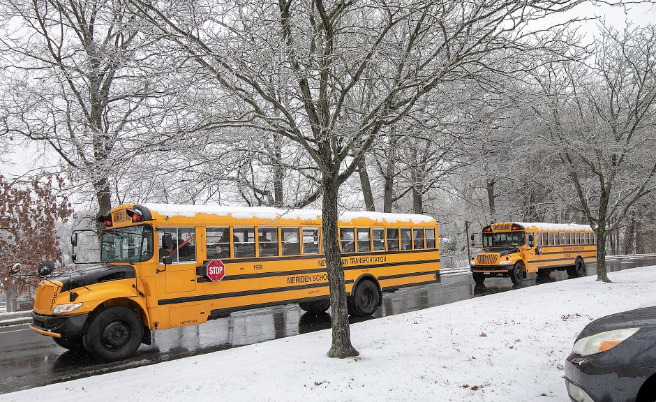 Buses leave Washington Middle School in Meriden at dismissal, Mon., Dec. 2, 2019. Dave Zajac, Record-Journal
