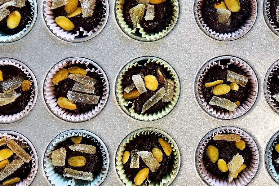 A recipe of chocolate tahini cups, made with 100 percent cacao chocolate chips, is displayed in Alexandria, Va., on Oct. 18, 2020. There
