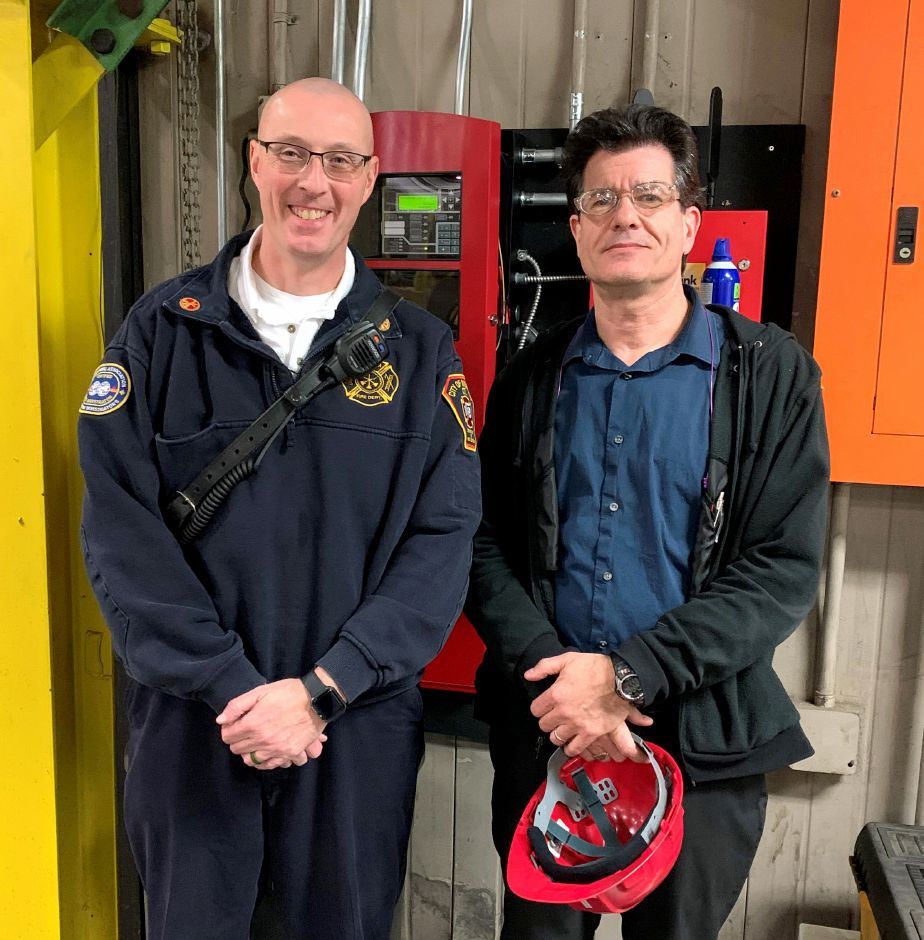 Joseph Mitchell, Director of Operations & Technology at The Miller Company, and John Yacovino, Fire Marshal at City of Meriden Department of Fire Services, on the day of final fire code compliance inspection. This day marked the end of a 3 month project. The system passed inspection and is now in service.