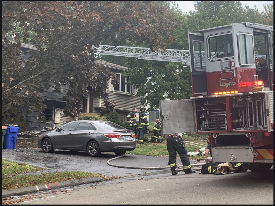 A fire damaged a home at 32 Spice Hill Drive, Meriden on Monday, Sept. 28, 2020 (Bailey Wright | Record Journal staff)