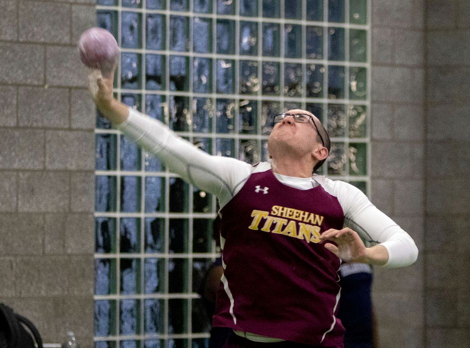 Sheehan boys indoor track Scholar-Athlete Dylan Poet throws for 42-3¾ at the SCC Eastern Sectional at the Floyd Little Athletic Center in New Haven on Jan. 29. Aaron Flaum, Record-Journal